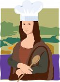 foto of mona lisa  - The Mona Lisa dressed as a chef - JPG