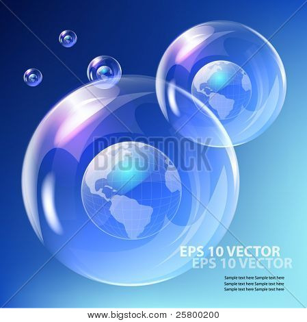 EPS10 vector realistic bubble -  earth globe against blue sky.