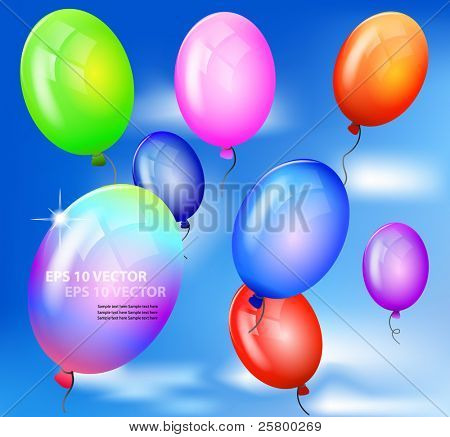 Vector realistic colorful balloons flying up against blue sky.