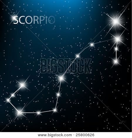 Scorpio vector Zodiac sign bright stars in cosmos.