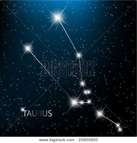Taurus vector Zodiac sign bright stars in cosmos.