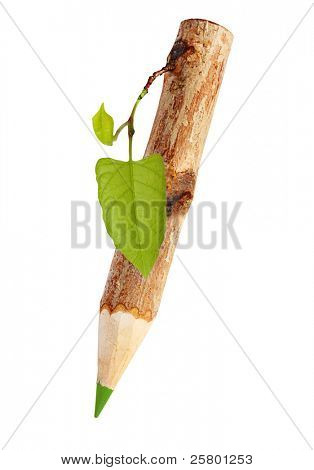 Wooden pencil with leaf