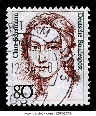 GERMANY-CIRCA 1986:A stamp printed in Germany shows image of Clara Schumann was a German musician and composer, considered one of the most distinguished pianists of the Romantic era, circa 1986.