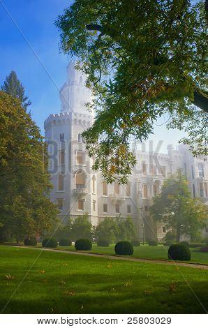 Czech Castle Hluboka Nad Vltavou In Myst