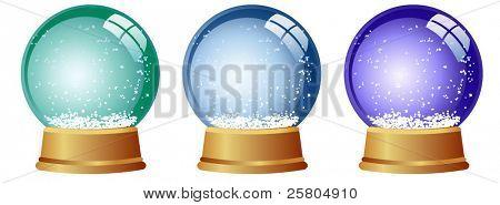 3 snow globes