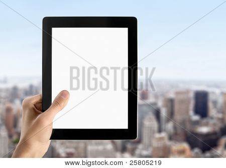 Hand Holds Blank Tablet PC