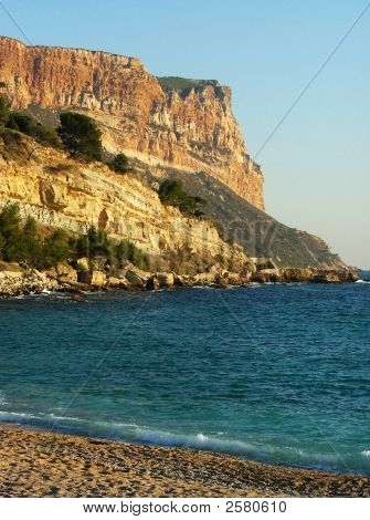 Beach With Mountain In Cassis