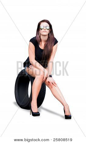 Tire Woman On Tyre