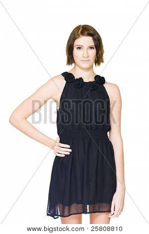Shy Woman Trying On Black Formal Evening Outfit