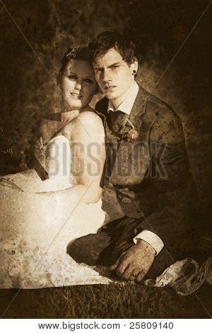 Faded Vintage Wedding Photograph