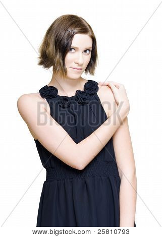 Elegant Fashion Model In Black Evening Dress