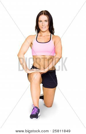Isolated Female Athlete Stretching Before Exercise