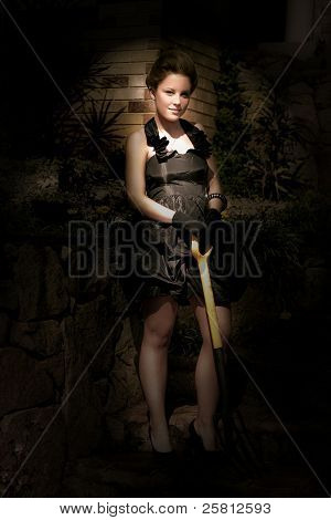 Fashionable Woman With Spade