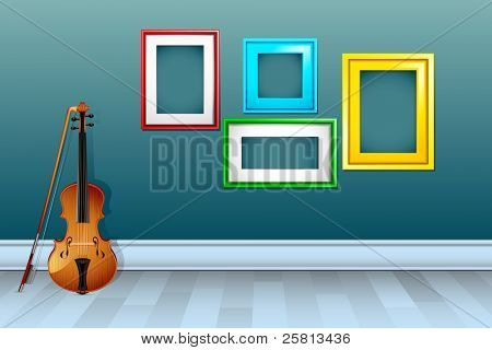illustration of violin with empty frame on wall