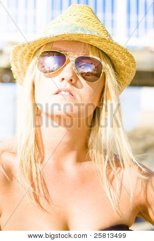 Face Of A Woman In Sunglasses On Holiday