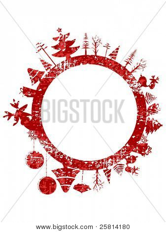 Abstract red grunge Christmas stamp with small elements like Christmas trees, Christmas ball, gift boxes  & Rudolph for Christmas & other occasions.