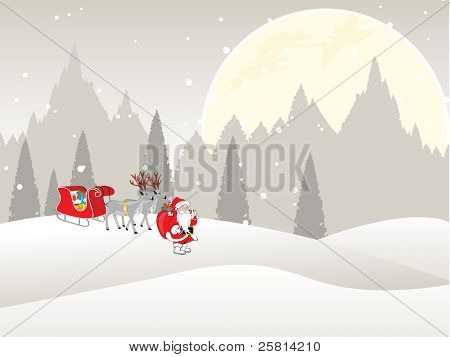 Santa Claus standing with sleigh loaded with presents in a distance on full moon background for Christmas & other occasions.