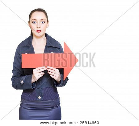 Business Woman Holding Direction Arrow Sign