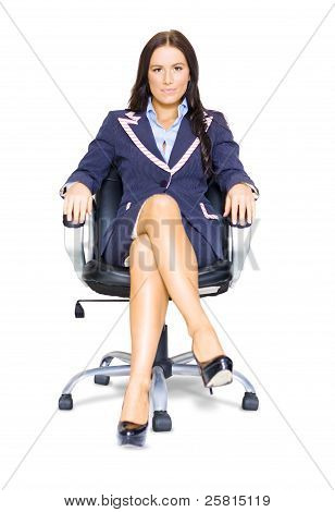 Business Woman On Office Chair At Job Interview