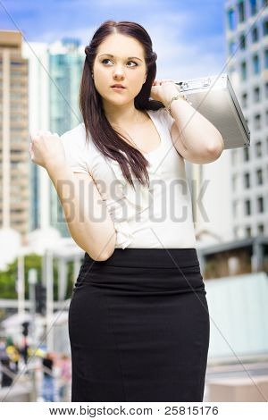 Professional City Lawyer Holding Silver Briefcase