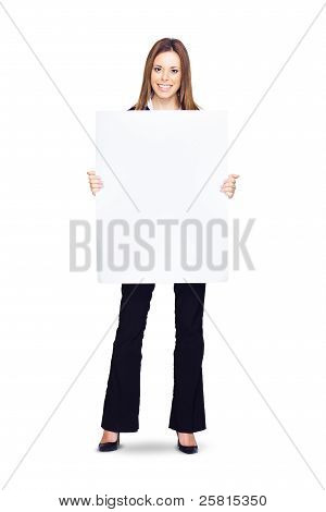 Attractive Young Business Woman Holding Blank Sign