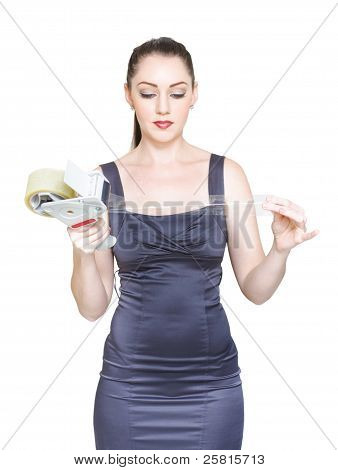 Business Woman Sealing And Packaging Business Deal
