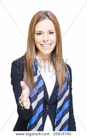 Business Woman Shaking Hands Over A Business Deal