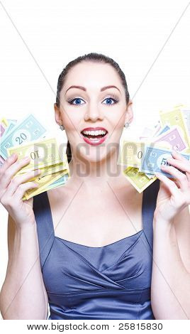 Excited Business Person Holding Handfuls Of Money