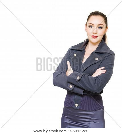 Portrait Of A Young Female Executive On White