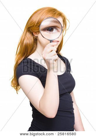 Woman Holding Looking Glass Or Magnifying Glass