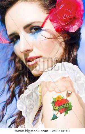 Woman Wearing Heart On Sleeve