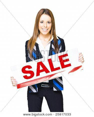 Happy Business Woman Holding Sold Sign