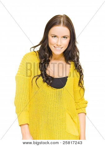 Studio Portrait Of A Bright Happy Girl With Smile