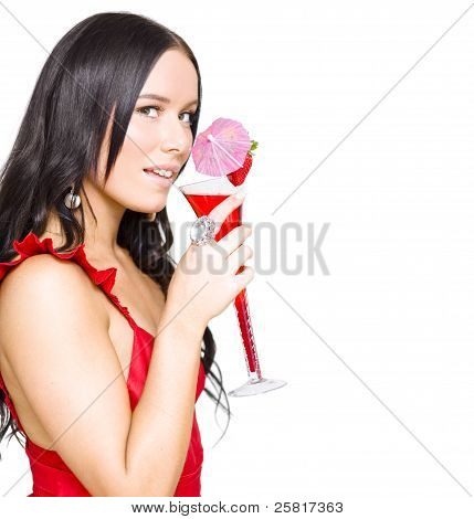 Woman Drinking Alcohol Drink At Christmas Party