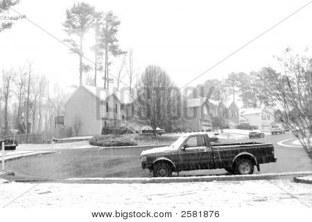 Snowy Neighborhood In Winter