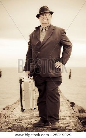 Vintage Traveling Business Man