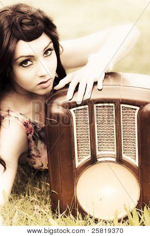 Woman With Retro Radio