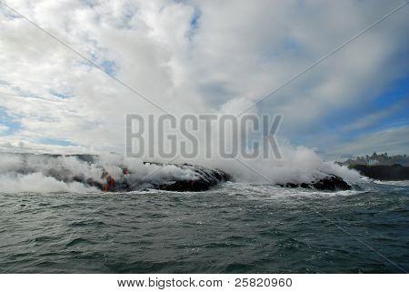 Advancing Lava, Ocean, Steam, Sky