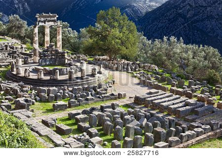 Ancient Greek Temple Of Athena On Mount Parnassus In Delphi