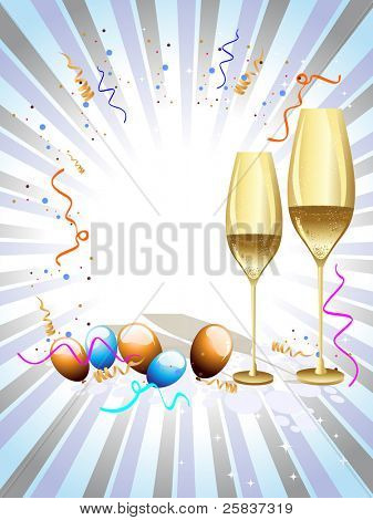 two wine glass with balloon & ribbons on colorful rays background for party & other occasions.