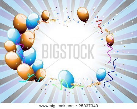 balloons & ribbons with shiny stars on colorful rays background for party & other occasions.