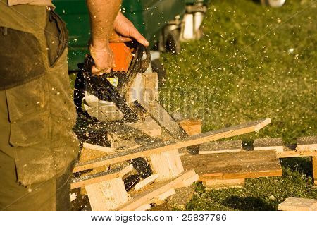 Chainsaw with sawdust