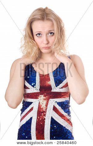 Upset Blonde Wearing Union-flag Shirt