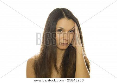 Young woman having splitting headache