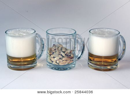 Tasty beer and set nuts