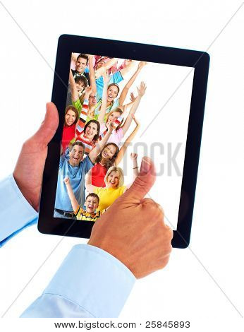 Tablet computer and group of happy people. Party holiday. Isolated on white background.
