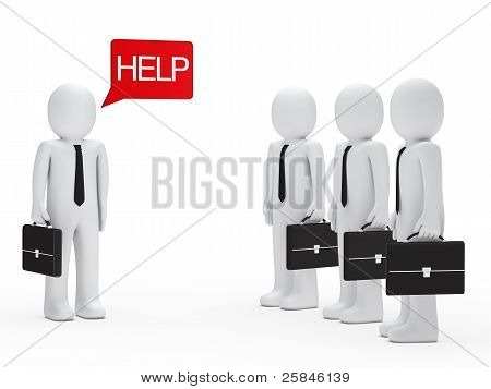 Businessman Need Help Red