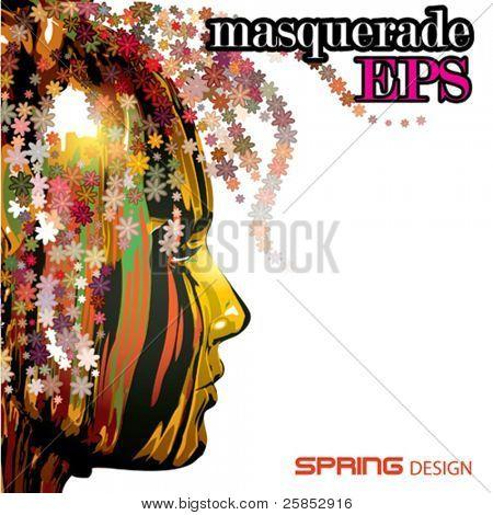 Vector Colorful Face. Spring Design