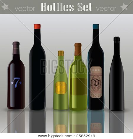 Vector Abstract Wine Bottles  Set