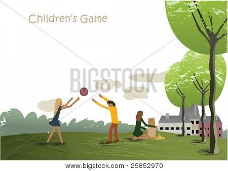 Vector Children are playing Game